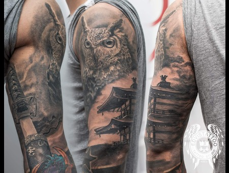 Japanese Sleeve Owl Sword Sharp House Half Sleeve For Men Best Tattoo Black Grey Arm