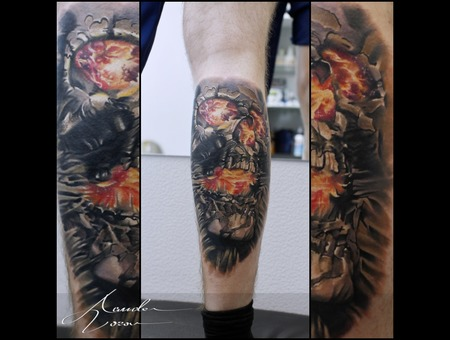 Skull  Space  Burning Color Lower Leg