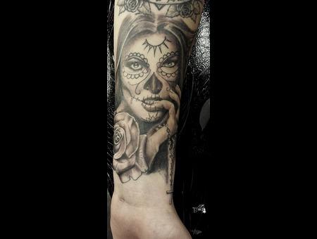Day Of The Dead  Face  Female  Woman  Rose  Sugarskull  Cross Black Grey Forearm