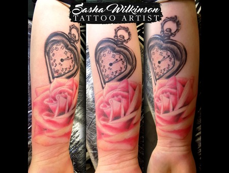 Pink Roses And Pocket Watch Color Forearm