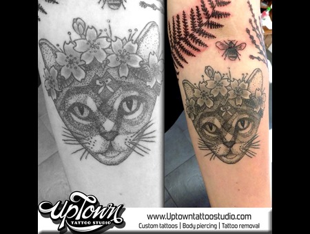 Dot Work Cat  Black Grey Forearm