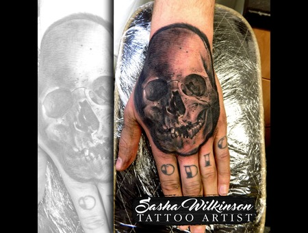 Hand Tattoo Black Grey