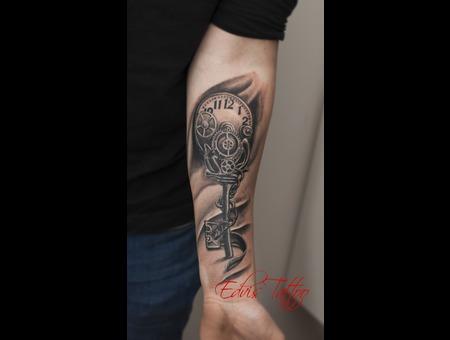 Clock Key Lowerarm Best Tattoo Black Grey Arm