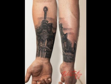 Realistic Sword Knight Details Tattoo Black Grey Arm