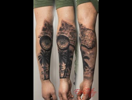 Compass Map Halfsleeve Travel Tattoo Black Grey Arm