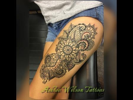 Mandela  Black Work  Thigh Tattoos Black Grey Thigh