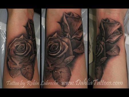 Black & Grey  Roses  Realistic  Wrist Black White