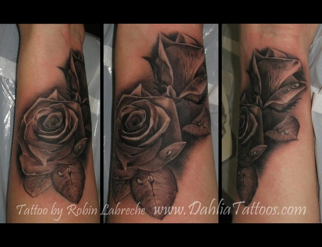 Black & Grey  Roses  Realistic  Wrist Black White