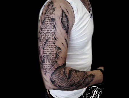 Gash  Realistic  Broke  Skin  Book  Words  Black Grey Arm