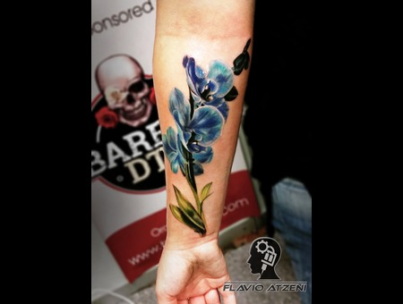 Flower  Blue  Orchid  Realistic  Color Forearm