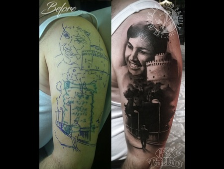 Portrait White Tower Lonely Man Walking Cover Up Black Grey Arm