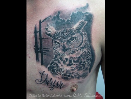Owl  Realism  Black & Grey  Chest Black White