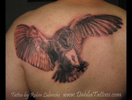 Owl  Realism  Black & Grey  Shoulder Blade Black White