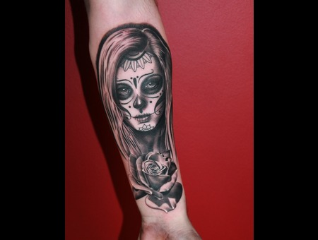 Day Of The Dead  Rose Black Grey Forearm