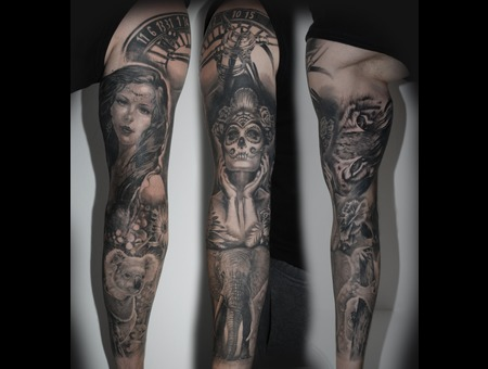 Sleeve Realistic Custom Black Grey Arm