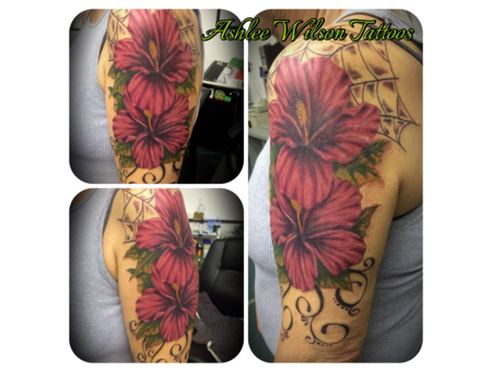 Realism Flowers  Hibiscus Tattoo  Spider Web Design  Filagree Work.  Color Arm