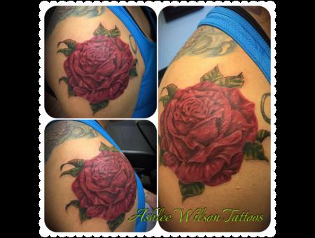 Realism  Rose  Shoulder Cap Tattoo Color Shoulder