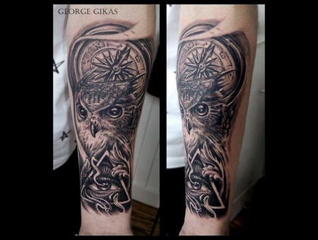 Owl  Eye  Compass Black Grey Arm
