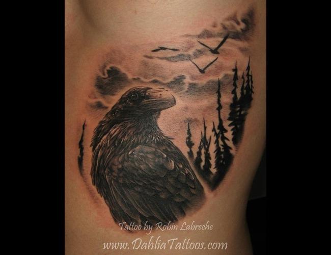 Black & Grey  Realism  Crow Black White