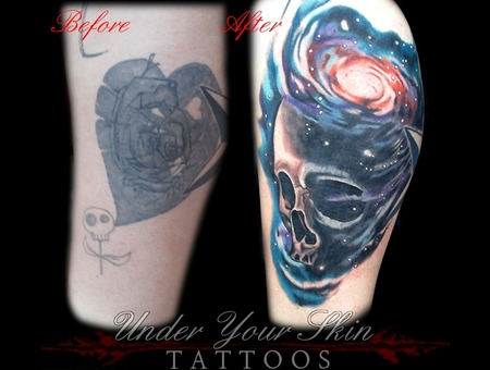 Cover Up Skull Space Color Lower Leg
