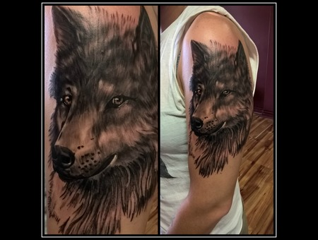 Wolf Tattoo  Black & Grey  Realistic  Portrait Black Grey Shoulder