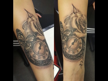 Butterfly.  Rose.Pocket Watch.  Arm Tattoo.  Black Grey Arm