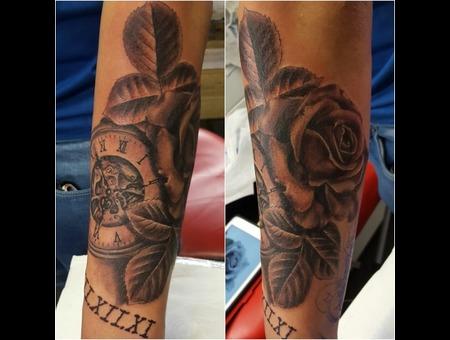 Rose. Pocket Watch.  Arm Tattoo. Family  Tattoo  Black Grey Arm