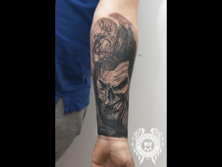 Joker Skull Scary Smoke Realism Best Tattoo Color Forearm