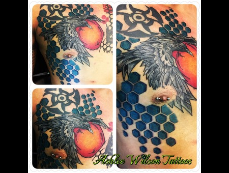 Abstract Tattoo  Raven  Geometric Tattoo Color Chest
