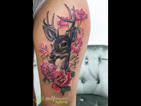 Deer  Flowers  Girl  Girly  Black And Grey  Realistic Color Thigh