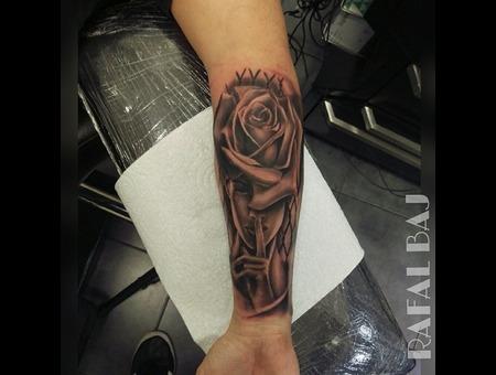 #Rosehead #Rose #Face #Blackandgray Forearm