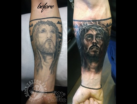 Jesus Cover Up Black Grey Arm
