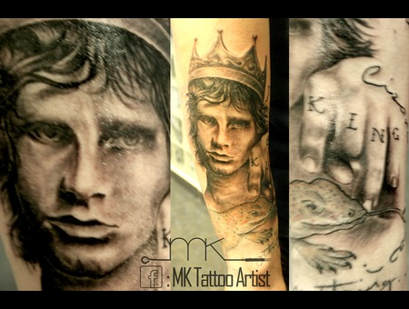Jim Morrison  Realistic  Portrait  Lizard  King  Crown Black Grey Forearm