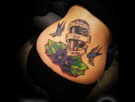 Cover Up Tattoo Old School Color Back