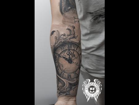 3d Clock Realistic Leaf Tattoo Black Grey Forearm