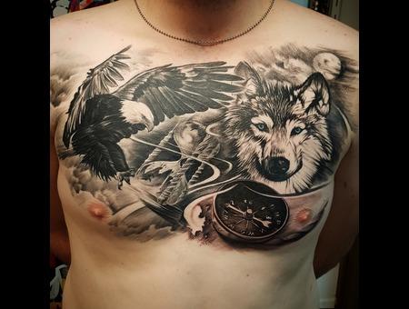 Eagle Wolf  Black Grey Chest