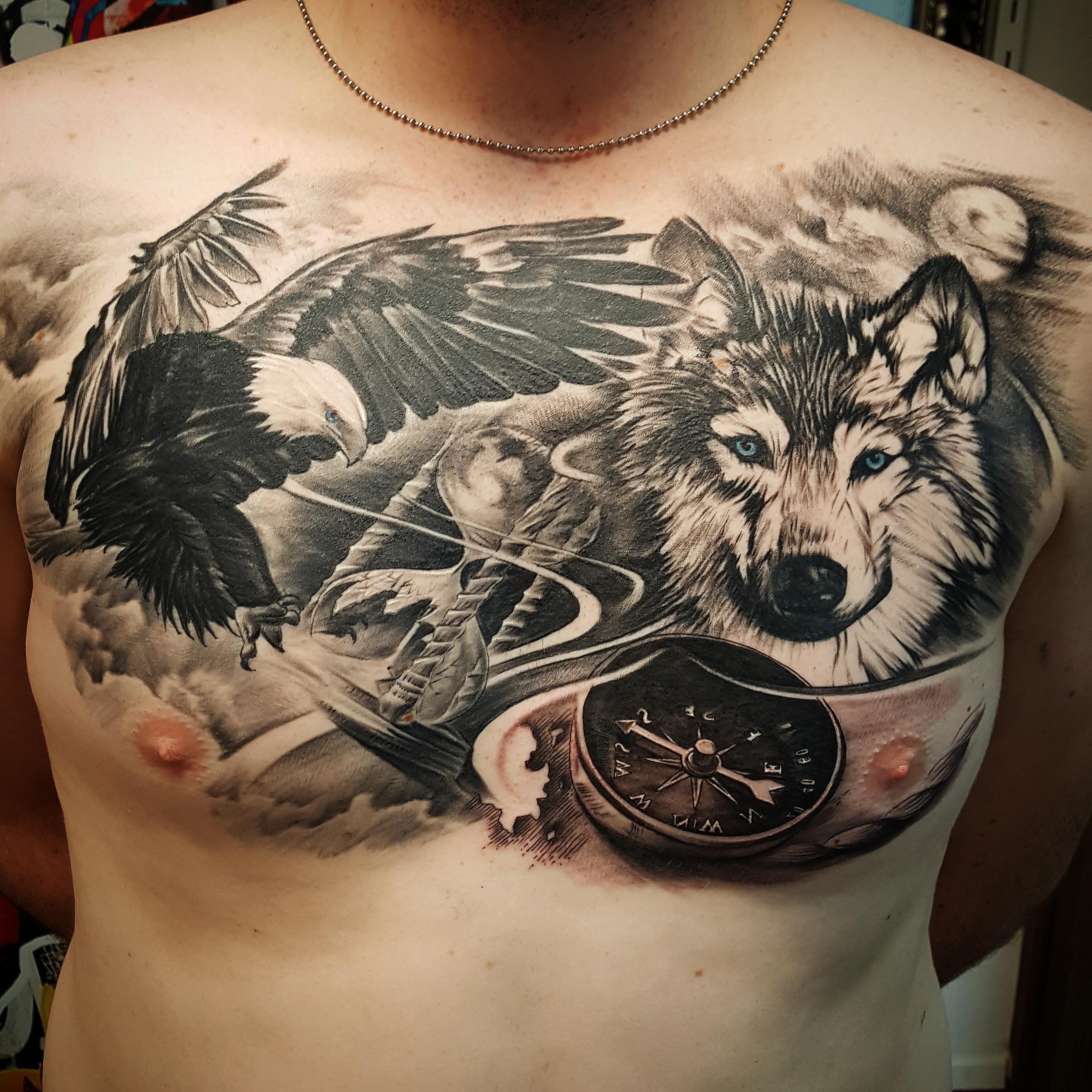 Wolf Tattoo Chest 57609 Usbdata
