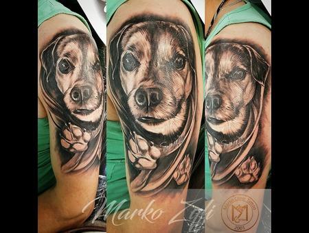 Dog Tattoo Black Grey Arm