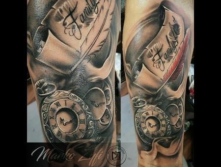 Clock Tattoo Black Grey Forearm