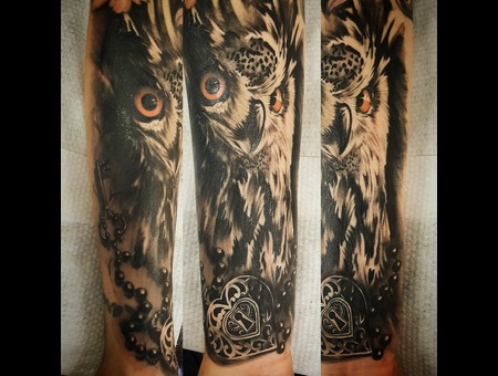Owl Tattoo  Black Grey Forearm