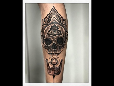 Geometric Skull Tattoo And All Seeing Eye  Black Grey Lower Leg
