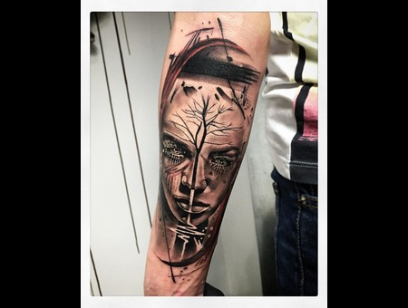 Abstract / Surreal Personal Tattoo Style  Black Grey Forearm