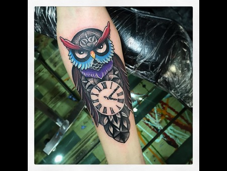 Owl Clock Dotwork Mandala Tattoo Color Forearm