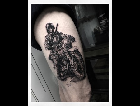 War Soldier  Black Grey Thigh