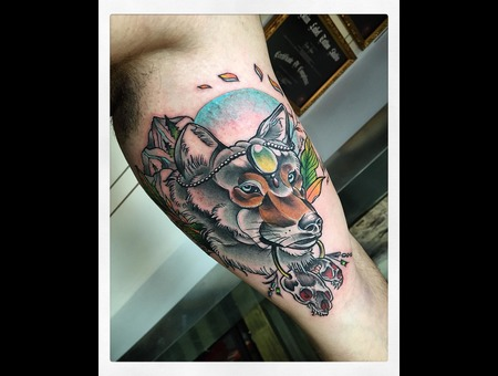 Neo Traditional Wolf  Color Arm