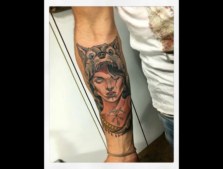 Neo Traditional Tattoo Wolf  Color Forearm