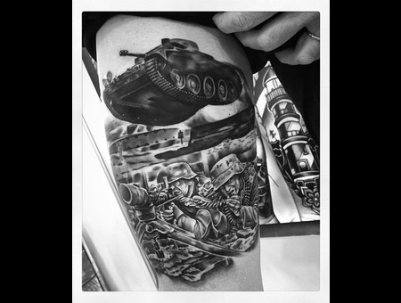 War Themed Tattoo Black Grey Thigh