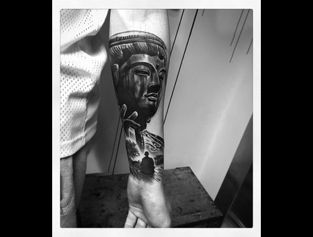 Buddah Traditional Tattoo Japanese  Black Grey Forearm