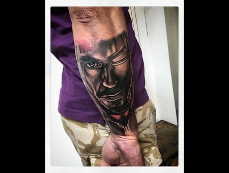 Iron Man Tattoo Realistic  Black Grey Forearm