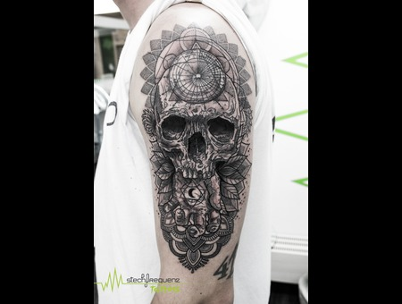 Skull  Flowers  Mandala  Sacred Geometry  Abstract  Black  Dotwork Black Grey Forearm